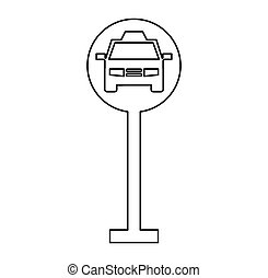 taxi parking zone sign isolated icon