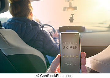 taxi, passager, app, moderne, chauffeur, ridesharing, ...