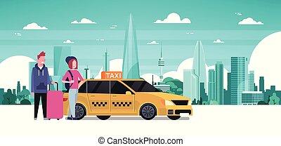 taxi, passagers, silhouette, service, asseoir, voiture, sur, jaune, ordre, ville, fond, taxi, couple