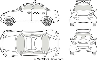 Taxi passenger car (outlined top, side, back, front view), ...