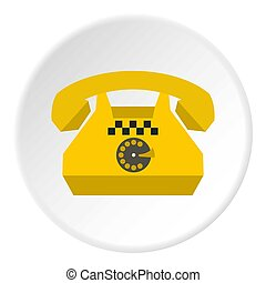 Taxi phone icon, flat style