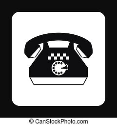 Taxi phone icon, simple style