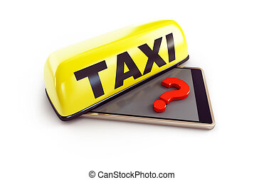 taxi phone question mark on a white background 3D illustration, 3D rendering