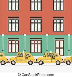 taxi, plano, amarillo,  vector, diseño, Ilustración