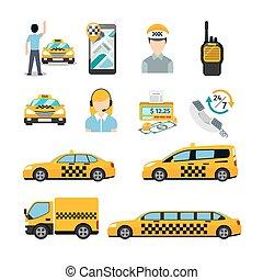 taxi, plano, transporte, icons., servicio