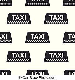 taxi, plat, auto, seamless, dak, meldingsbord, achtergrond., vector, illustratie, model, witte , pictogram, design.