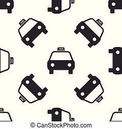 taxi, plat, auto, seamless, illustratie, achtergrond., vector, model, witte , pictogram, design.