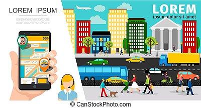 taxi, plat, composition, service