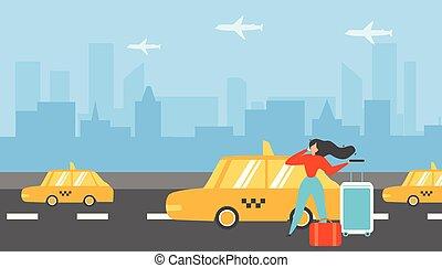 taxi, plat, concept, vecteur, appeler, femme, voyager