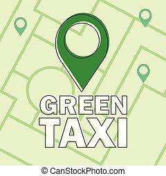 taxi, plat, eco, moderne, -, créatif, vecteur, conception, consept, infographics, vert
