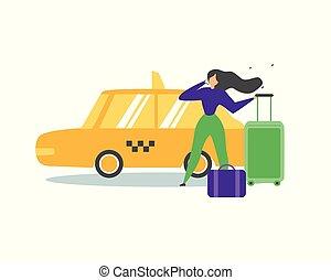 taxi, plat, femme, service, appeler, vecteur, voyager