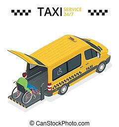 taxi, plat, minibus, illustration., physiquement, voiture, gens., isométrique, lift., handicapé, vecteur, homme, véhicule, 3d, ou, wheelchair.