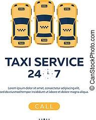 taxi, plat, service., vecteur, voiture., illustration.