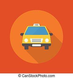 taxi, plat, voyage, icon.