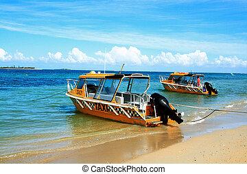 taxi, playa, barco