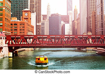 taxi, ponts, chicago, autobus, en ville, navette, bateau