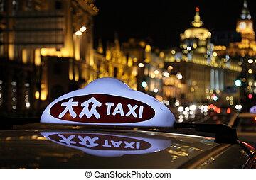 taxi, porcelaine, shanghai, nuit