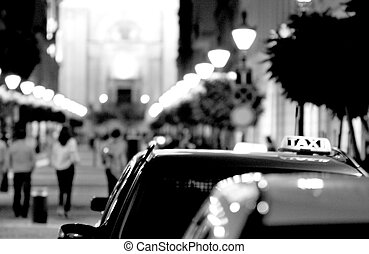 Budapest taxis on a taxi rank in black and white