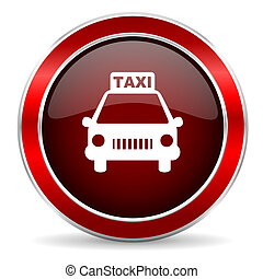 taxi red circle glossy web icon, round button with metallic border