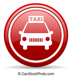 taxi red glossy icon on white background