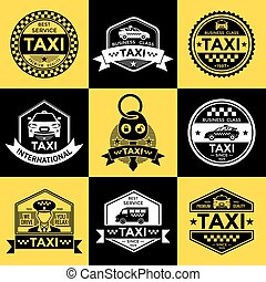 Taxi Retro Style Labels