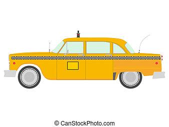 Taxi - Retro yellow cab silhouette.