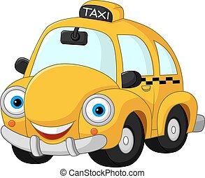 taxi, rigolote, dessin animé, jaune