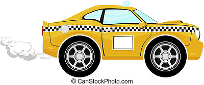 taxi, rigolote, dessin animé, voiture
