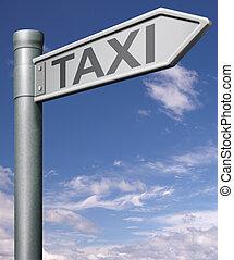 taxi road sign