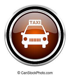 taxi round circle glossy metallic chrome web icon isolated on white background