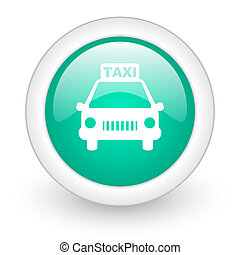 taxi round glossy web icon on white background