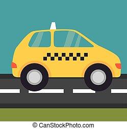 taxi, rue, service