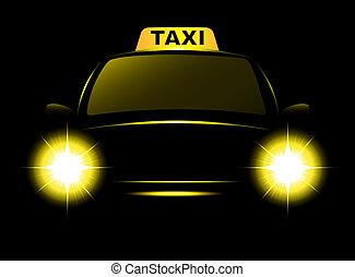 taxi, sötét, árnykép, taxi, aláír