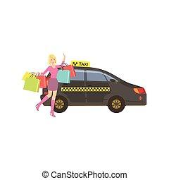 taxi, sacs, achats femme, beaucoup, attraper, noir, voiture