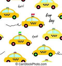 Taxi seamless pattern illustration in cartoon style