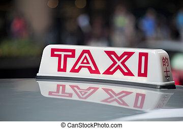 taxi, segno, su, tetto, di, uno, tassì