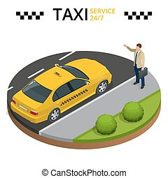 Taxi service 24h concept. Young man raising her arm to call a taxi. Flat 3d vector isometric illustration.
