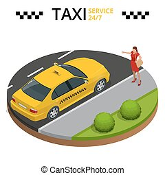 Taxi service 24h concept. Young woman raising her arm to call a taxi. Flat 3d vector isometric illustration.