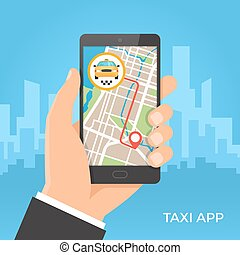 Taxi service and gps navigation concept