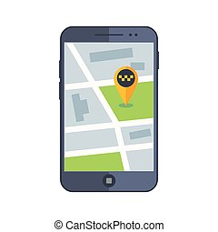 Taxi service app map on mobile phone with gps pointer