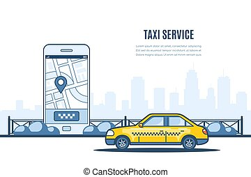 Taxi service banner.