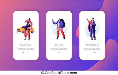 Taxi Service Concept for Website or Web Page. Driver Waiting Passenger with Baggage to Destination. People Ordering Taxi Car Using Mobile App Page, Onboard Screen Set. Cartoon Flat Vector Illustration