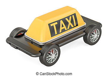 Taxi service concept, phone with wheels. 3D rendering