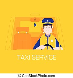 Taxi Service Concept with Driver Man