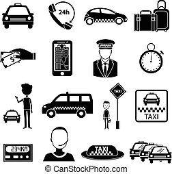 Taxi service icons set