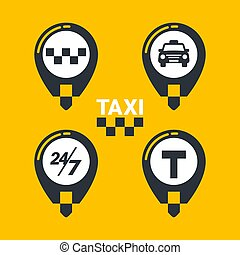 Taxi service icons. Taxi map pins with checkers, taxi car, T-sign and twenty-four seven sign on yellow background. lat style Vector illustration.