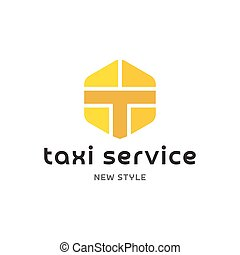 Taxi Service Logos sign Abstract geometrical Illustration modern Flat in minimalism art