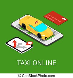 Taxi Service Mobile Application. Isometric Taxi Car on Smartphone