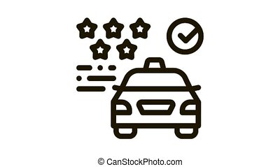 Taxi Service Rating Online animated black icon on white background