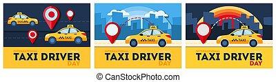 Taxi service set.